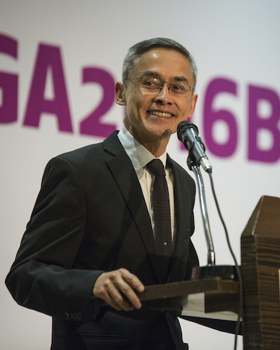 """""""We seek simply to be what we are, in our love, friendship, privacy and intimacy under the protection of international law,"""" Vitit Muntarbhorn, U.N. independent expert on LGBT rights, speaking at ILGA World 2016."""